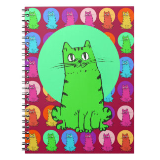 sweet kitties multiple color tint funny cartoon notebook