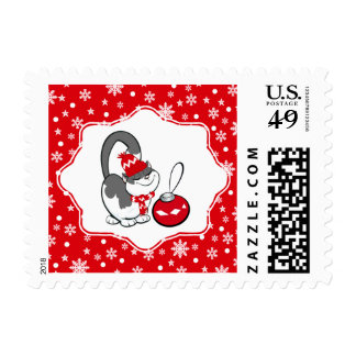 Sweet Kitty Christmas Postage Stamps