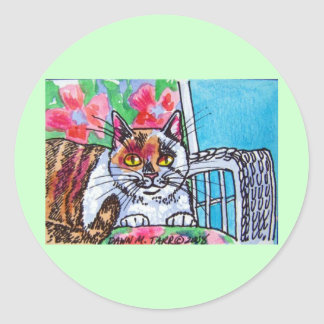sweet kitty classic round sticker
