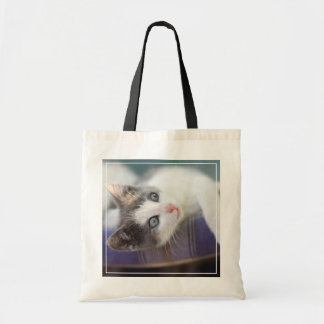 Sweet Kitty In Plaid Bed Tote Bag