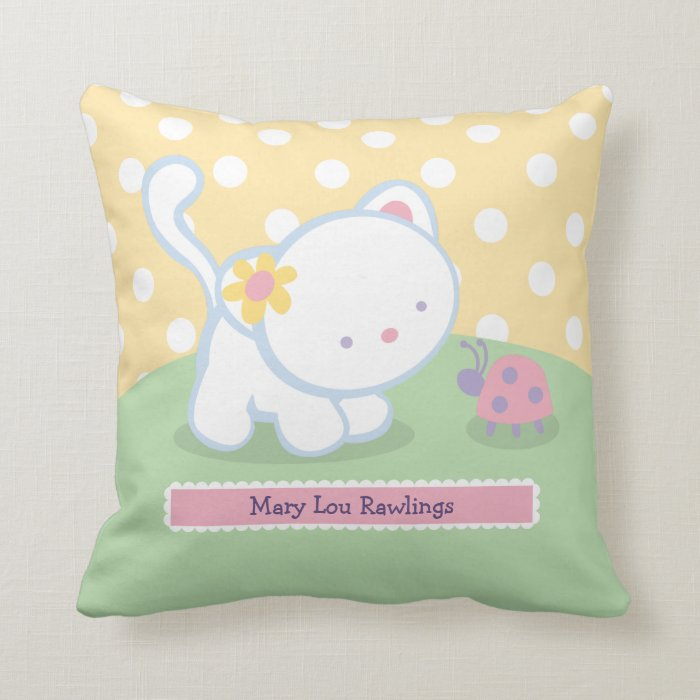 Kitty Throw Pillow : Sweet Kitty Kids Throw Pillows Zazzle