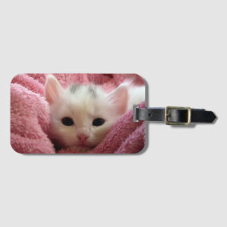 Sweet kitty stay warm luggage tag