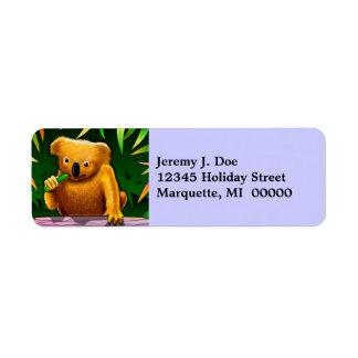 Sweet Koala Bear Munching Return address Labels