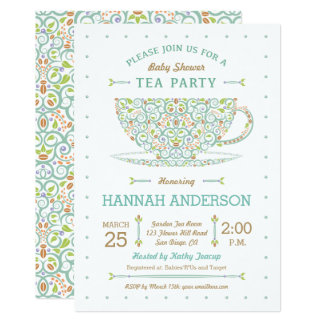 Sweet Lacy Teacup Baby Shower Gender Neutral Card