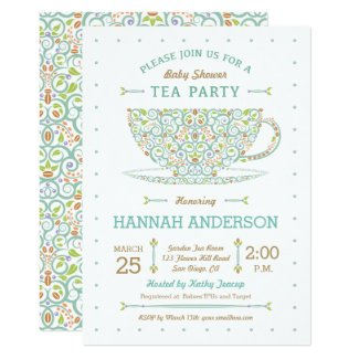 Sweet Lacy Teacup Baby Shower Gender Neutral Invitation