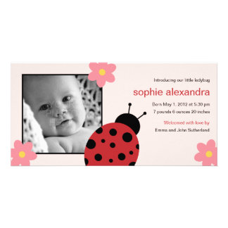 Sweet Ladybug Baby Girl Birth Announcement Personalized Photo Card