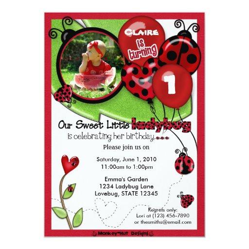 "Sweet Ladybug Birthday Invitation ADORABLE (photo) 5"" X 7"" Invitation Card"