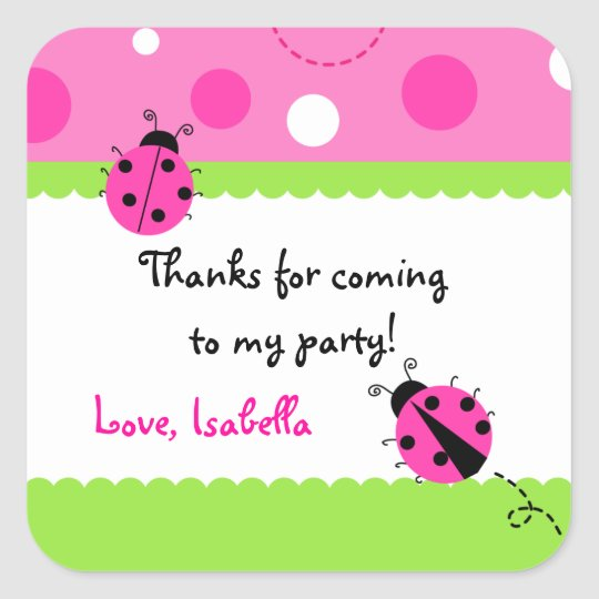 Sweet Ladybug Birthday Party Favor Stickers
