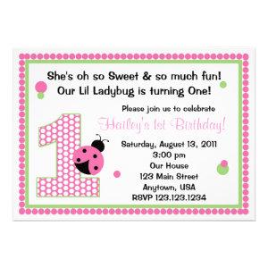 Sweet Ladybug First Birthday Invitation