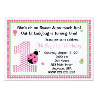 "Sweet Ladybug First Birthday Invitation 5"" X 7"" Invitation Card"