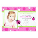 Sweet Ladybug Pink Green Photo Birthday Invitation