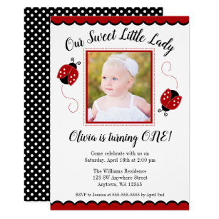 Ladybug birthday invitations zazzle sweet ladybug red black photo birthday invitations filmwisefo Choice Image