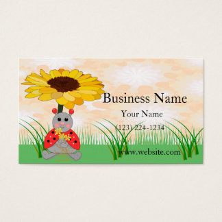 Sweet Ladybug Sitting Under A Sunflower Scene Business Card