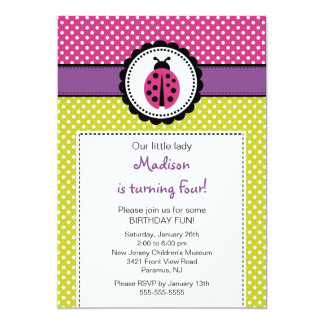 Sweet Ladybugs Birthday Invitation Polka Dots