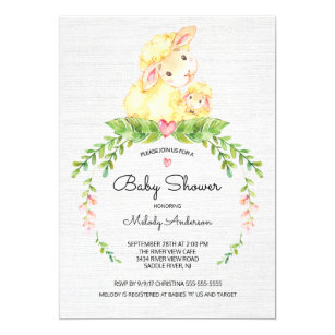 Sweet Lamb Baby Shower Invitation