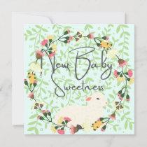 Sweet Lamb New Baby Flat Announcement Card