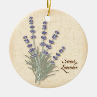 Sweet Lavender Herb and Flowers Ceramic Ornament