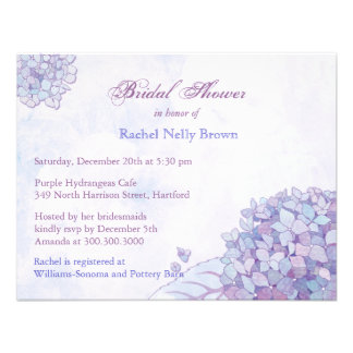 Sweet Lavender Hydrangea Floral Bridal Shower Custom Announcements