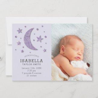 Sweet Lavender Moon Stars Baby Photo Birth Announcement