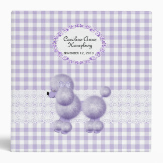 Sweet Lavender Poodle Checkered Custom Baby Album 3 Ring Binder