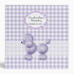 Sweet Lavender Poodle Checkered Custom Baby Album Binders