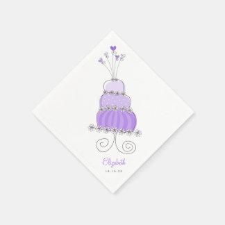 Sweet Lavender Wedding Cake Bridal Shower Party Napkin