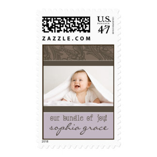Sweet Leaves Baby Announcement Stamp (lilac)