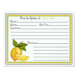Sweet Lemons Baking Cooking Recipe Cards