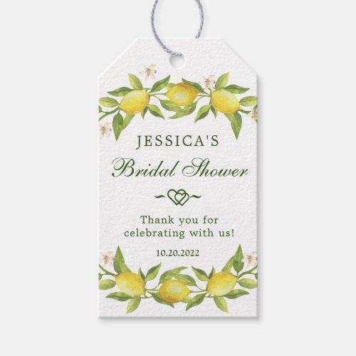 Sweet Lemons &  Greenery Gift Favor Tag Thank You