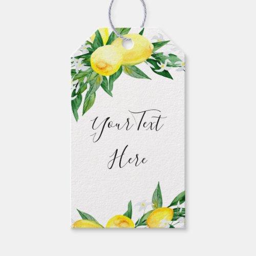 Sweet Lemons Greenery Watercolor Gift Favor Tag