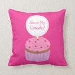 Sweet like Cupcake, Pink, For Girls Throw Pillows
