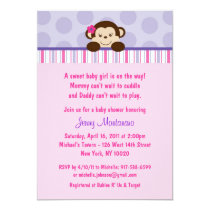Sweet Lil Girl Monkey Baby Shower Invitations