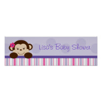 Sweet Lil Girl Monkey Birthday Banner Sign