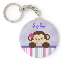 Sweet Lil Girl Monkey Personalized Key Chain