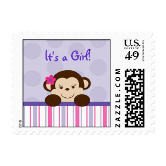 Sweet Lil Girl Monkey Personalized Postage Stamps