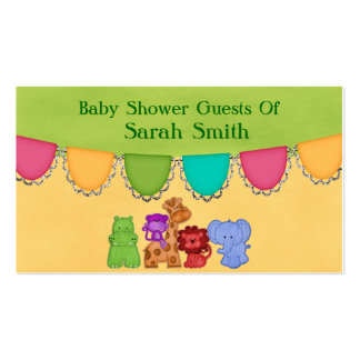 Sweet Lil Jungle Animals Safari Baby Shower Double-Sided Standard Business Cards (Pack Of 100)
