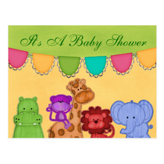 Sweet Lil Jungle Animals Safari Baby Shower Postcard