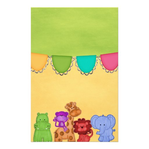 Sweet Lil Jungle Animals Safari Baby Shower Stationery Design