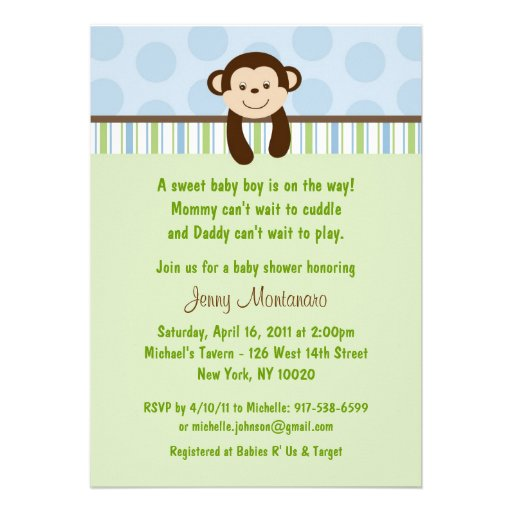 sweet lil monkey baby shower invitations 5 x 7 invitation card
