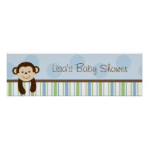 Sweet Lil Monkey Birthday Banner Sign