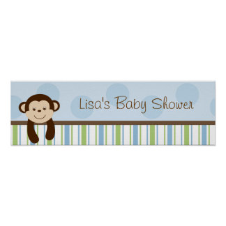 Sweet Lil Monkey Birthday Banner Sign Poster