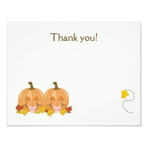 Sweet Lil Pumpkins Flat Thank you note invitation