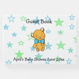 Sweet Lil Teddy Bear Boy's Baby Shower Guest Book