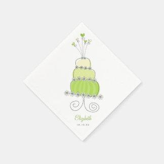Sweet Lime Green Wedding Cake Bridal Shower Party Napkin