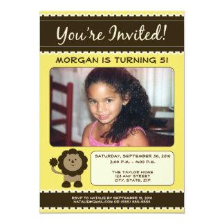 Sweet Lion Birthday Party Invitation (yellow)