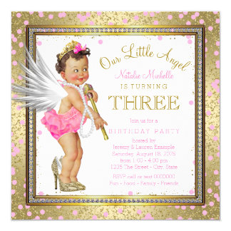 Sweet Little Angel Girls 3rd Birthday Party Card