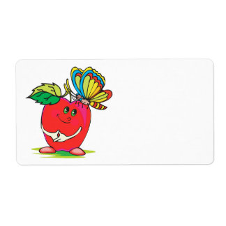 sweet little apple character and butterfly personalized shipping label