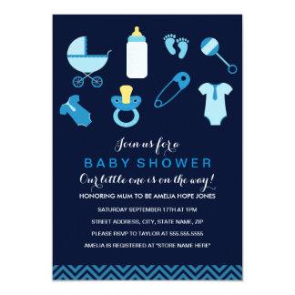 Sweet Little Baby Boy Blue Baby Shower Invite