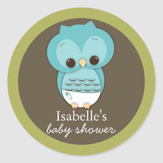 Sweet Little Baby Boy Owl Favor Sticker