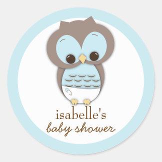 Sweet Little Baby Boy Owl Favor Sticker